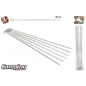 Set 6 bbq steel skewers 40 cm