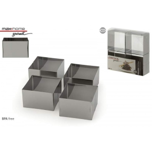 Set 4 ssteel moulds 8x8x5.5 cm