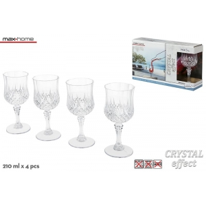 Set 4 plastic wine glasses