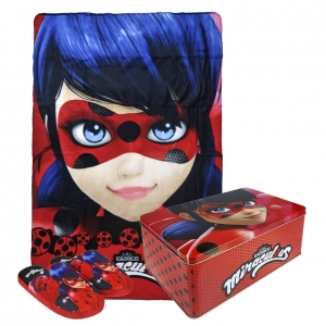 Miraculous Ladybug slippers + fleece blanket gift set