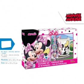 Minnie Mouse diary, wristwatch and mug gift set