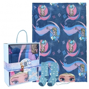 Frozen fleece blanket, blindfold for sleeping and socks set