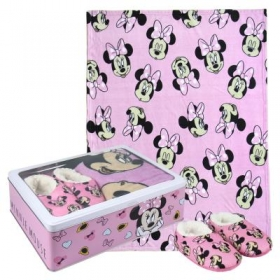 Minnie Mouse fleece blanket, slippers and metal box gift set