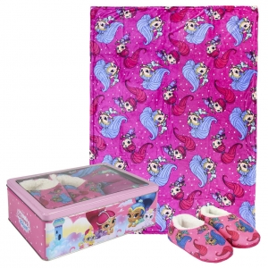 Shimmer and Shine fleece blanket, slippers and metal box gift set