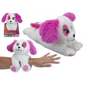 28 cm Hugglers Snap Band Plush On Tray Box Pink Pup