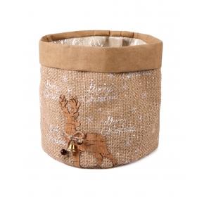 Christmas jute casing with foil 15x15x15 cm