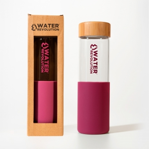 Water Revolution 660 ml glass bottle with silicone handle