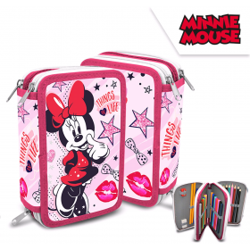 3 compartments pencil case with accessories Minnie Mouse