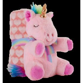 Soft pink unicorn plush with blanket