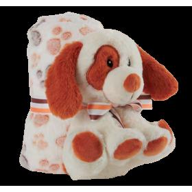 Soft plush dog with blanket